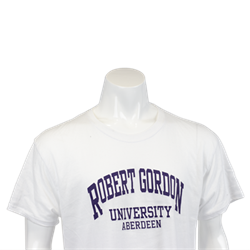Image for American T-Shirt - White (purple writing) - S